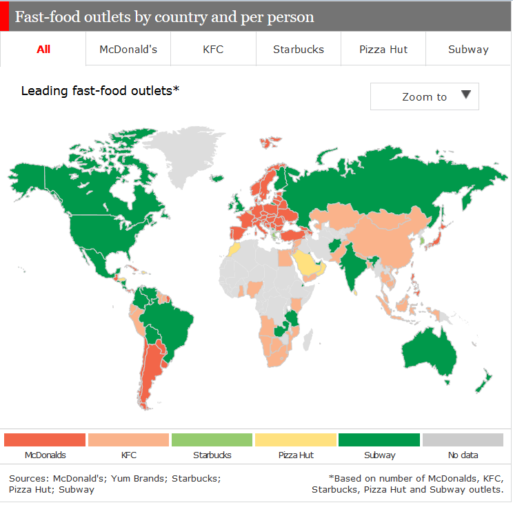 Fast food chart from the economist anna hadnagy - Different types of cuisines in the world ...
