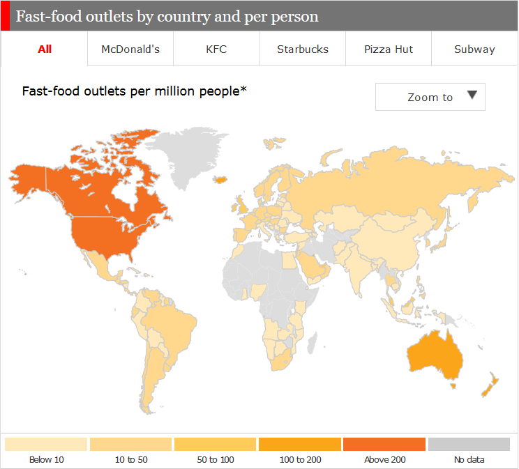 Fast-food outlets per person in each country